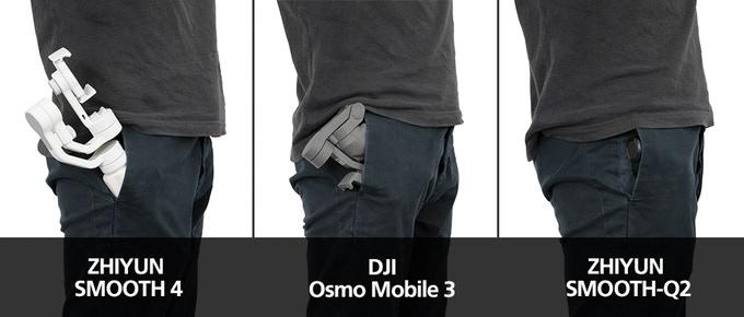 大疆Osmo Mobile 3 和智云Smooth Q2机身大小对比